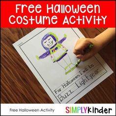 Ficha para dibujar de Halloween imprimible @simplykinder // Free printable #Halloween worksheet to write and colour