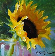 """Sunflower Sketch"" - Original Fine Art for Sale - © Elena Katsyura"
