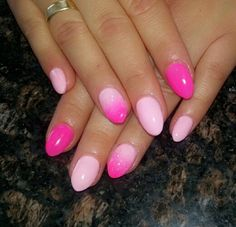 Almond pink ombre nails :)