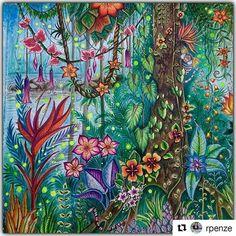 Perfeição #Repost @rpenze with @repostapp Magical Jungle - Johanna Basford - pagina dupla / pag da direita em close pra vc ver melhor os detalhes - material utilizado : aquarelas, colorgel , poscas, aquareláveis  #johannabasford #rpenze #magicaljungle #selvamagica #livrosdecolorirparaadultos #coloringforadults #watercolor