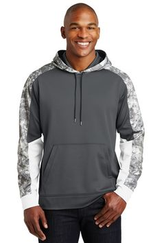 Sport-Tek ST231 - Sport-Wick Mineral Freeze Fleece Colorblock Hooded Pullover #sporttek #mensfashion