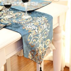 Buy European luxury embroidered table flag Velvet fabric Table Runner Tablecloth Embroidered Table Runners Table Flag Dinner Mats at Wish - Shopping Made Fun Cheap Table Runners, Modern Table Runners, Table Flag, Dinning Table, European Fashion, European Style, Table Linens, Home Textile, Decoration