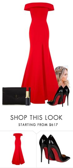 """Golden Globes"" by gianna-santangelo ❤ liked on Polyvore featuring Rachel Gilbert, Christian Louboutin and Yves Saint Laurent"