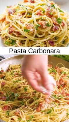Bacon Pasta Recipes, Chicken Pasta Recipes, Spaghetti And Bacon Recipe, Pasta With Bacon, Pasta Recipes Linguine, Recipes With Spaghetti Noodles, Pasta With Chicken, Light Pasta Recipes, Angel Hair Pasta Recipes