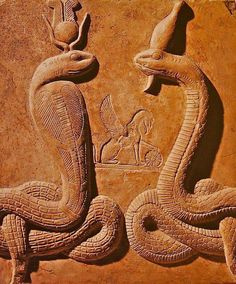 In Egyptian iconography, cobras are commonly found on Isis' headdress, while in Greece and Italy, Isis could be shown holding a cobra, or with a cobra wrapped about Her arm. In the Graeco-Roman period, a cobra-formed Isis is paired with Her Graeco-Egyptian consort Serapis (and sometimes Osiris), also in a serpent form. As serpent Deities, Isis and Serapis are Agathe Tyche (Good Fortune) and Agathos Daimon (Good Spirit), and were considered the special protectors of Alexandria.