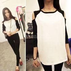 New Fashion Korean Women's Top Off Shoulder 1/2 Sleeve T-shirt Casual Wear