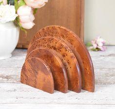 Burr walnut freestanding letter rack, Art Deco semi circular style, vintage wooden letter rack
