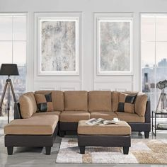 Best Farmhouse Living Room Furniture! Discover the top-rated farmhouse sofas, end tables, coffee tables, and more. We have farm home ottomans and more that you will love. 3 Piece Sectional Sofa, Modern Sectional, Modern Sofa, Sofa Set, Couch Sets, Faux Leather Sofa, Leather Sectional, Beige Sectional, Bonded Leather