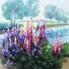 Lupine Flower Painting Original Oil Painting by ingridspaintings
