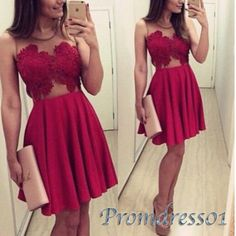 Cute deep red lace chiffon prom dress for teens, short party dress