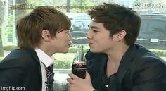 """Sungmin & Kangin on Intamate Note <3 After the spit if coke Kangin said: """"It cuz you look like you loved me!"""" XD"""