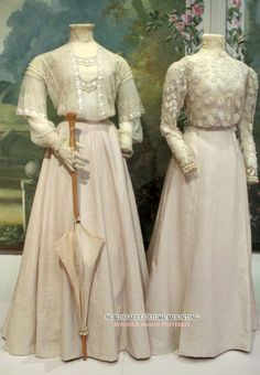 Lace shirtwaists. Cotton tulle & lace (left); Irish crochet (right). Skirts are modern reproductions. Putnam County Historical Society via Northeast Costume Mounting