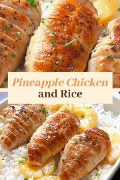 Pineapple Chicken and Rice Dinner Recipe. Tender chicken cooked in a sweet pineapple honey Dijon sauce and served over rice. Pineapple Chicken and Rice Dinner Recipe. Tender chicken cooked in a sweet pineapple honey Dijon sauce and served over rice. Healthy Chicken Recipes, Turkey Recipes, Cooking Recipes, Chicken Recipes For One, Chicken Dinner For Two, Different Chicken Recipes, Healthy Chicken Dinner, Dinner Healthy, Rice Recipes For Dinner