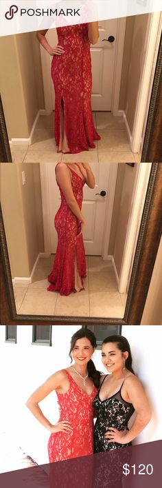 BCBG Prom Dress Red lace prom dress BCBG Dresses Prom