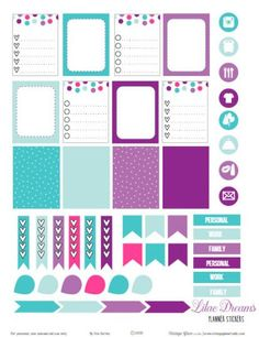 Teal and Purple Planner Stickers   Free Printable Download for personal use only.