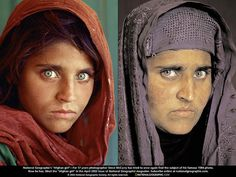 "For 17 years Steve McCurry, photographer, tried to find the mystery ""Afghan girl"" again. In he succeeded—and again captured her on film (right). Photograph by Steve McCurry Steve Mccurry, Beautiful Eyes, Beautiful People, Beautiful Women, National Geographic Cover, Afghan Girl, People Of The World, Interesting Faces, Children Photography"
