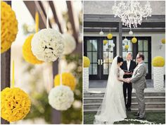 Amazing Decor at this Yellow, Grey and Chevron Modern Palm Springs Wedding