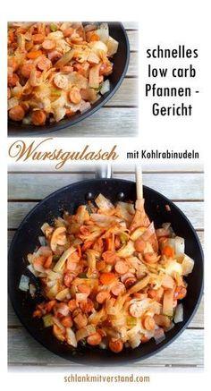 Hier wieder ein leckeres und schnelles low carb Pfannengericht aus meiner Küche. Statt der Kohlrabi-Bandnudeln verwende ich auch gerne Zucchini-Spaghetti und die Würstchen könnt ihr gegen Fleischwu…