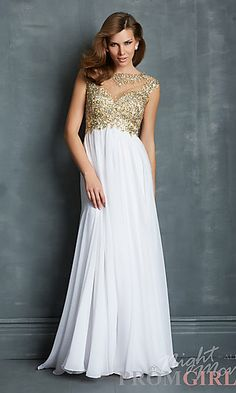Long Open Back Gown with Cap Sleeves at PromGirl.com