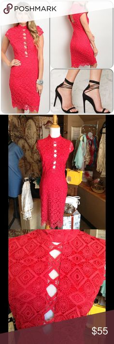 Raspberry Crochet Dress This gorgeous dress features crochet overlay, is fully lined. Back opening and both neck and back closure. Body con fit. 95% Polyester, 5% Spandex ❌Shoe pic found on Pinterest ❌(This closet does not trade or use PayPal) Nikibiki Dresses Midi