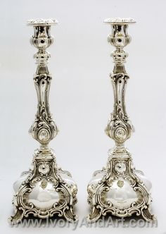 Magnificent pair of solid Silver Judaica elegant candlesticks! Such amazing clean & precise handwork done on each individual piece, with age old traditional curves and solid accentuated patterns in pure Sterling silver. Silver Candlesticks, Silver Trays, Silver Spoons, Shabbat Candlesticks, Silver Plate, Vintage Silver, Antique Silver, Chandeliers, Arte Judaica
