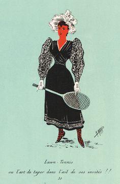 """""""Lawn - Tennis ou l'art de taper dans l'oeil de ses invités !!"""" - Silhouettes Fantaisistes par Maurice MARAIS - 3ème série - planche 30 - MAS Estampes Anciennes - MAS Antique Prints"""