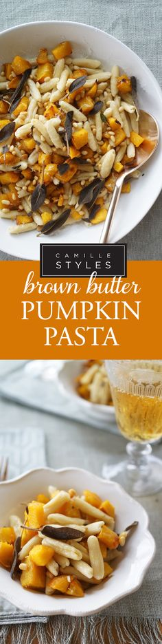 this pasta recipe has all your favorite fall flavors in one bowl, just some pumpkin and pine nuts topped with a light dressing, it's the perfect pumpkin pasta recipe!