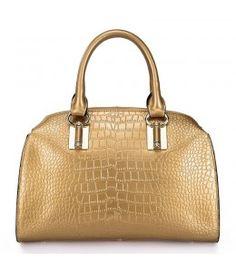 Kuferek - skóra krokodyla do ręki metaliczny złoty