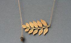 Pine cone necklace, $28