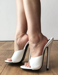 Sexy Mistress Hi Heel Stiletto Fetish Slipper Slides Mule White – Refuse to be Usual Sexy Legs And Heels, Sexy High Heels, High Heels Stilettos, Stiletto Heels, Shoes Heels, Beautiful High Heels, Gorgeous Feet, Heeled Mules, Heeled Boots