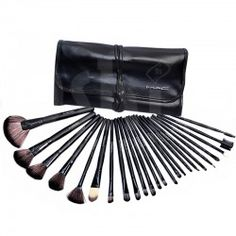 24 piece mac makeup brush set with leather pouch mbs-24