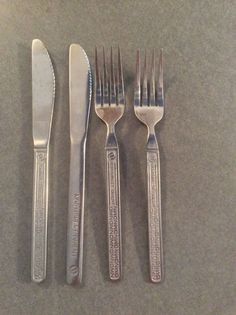 NORTHWEST ORIENT Airline Stainless Flatware Silverware 4 pcs Forks Knives