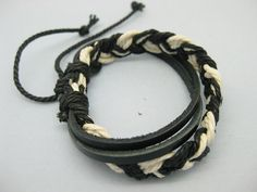 Shoply.com -Cuff bracelets made by black leather and black white rope NEW WVOEN. Only $2.59