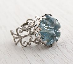 Vintage Filigree Ring - Icy Blue Lucite Stone Signed Sarah Coventry 1960s Silver Tone Adjustable Chunky Costume Jewelry / Statement Flower by Maejean Vintage on Etsy, $20.00