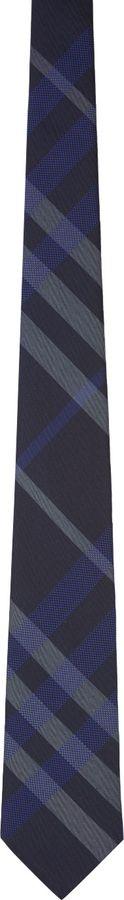 Burberry Navy Silk Check Tie on shopstyle.com