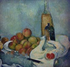 Paul Cézanne, Bouteilles et pêches/Flessen en perziken on ArtStack #paul-cezanne #art