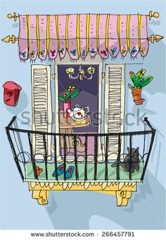 cute balcony - cartoon Doodle Drawings, Cartoon Drawings, Doodle Art, Easy Drawings, Painting & Drawing, Watercolor Paintings, Watercolor Architecture, House Illustration, Simple Doodles