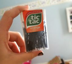 Store bobby pins in an empty tic tac container | crafty ideas | @Paige ...