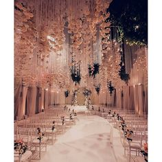 FOR THE CEREMONY || Aisle wonderland with hanging floral installation & diffused lighting || NOVELA BRIDE...where the modern romantics play & plan the most stylish weddings...www.novelabride.com @novelabride #jointheclique
