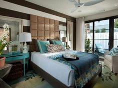 Turquoise and Chocolate works for me. I love this main floor Master bed room with it's very own courtyard. Love it! HGTV Green Home 2012: Beautiful Rooms : Green Home : Home & Garden Television