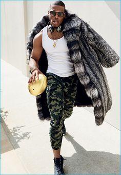 Rocking Dita sunglasses, Cam Newton sports a Marc Kaufman fur coat with Under…