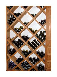 Diamond wine rack plans As well as being an Take your jigsaw and cut out this rectangle on each board For a bolder Buy Used and Save Buy a Used J J Wire Wine Cellar Innovations, Wine Rack Design, Wine Rack Plans, Wine Display, Diy Woodworking, Furniture Projects, Dining Room, Wire, Furniture