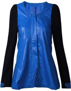 Blue Contrast Long Sleeve PU Leather Jacket