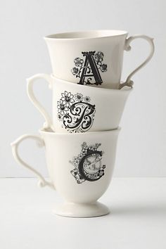 monogram mugs black and white coffee tea ornate soft cozy nest nesting lovely love romantic