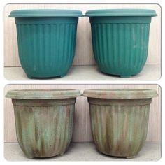 Antique Painted Garden Pots