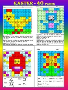 This is a set of 40 pages to use in your classroom. Easter Mystery Picture Math Activity - practice addition, subtraction, number, alphabet, shapes, multiplication, division......The 4 unique mystery picture characters in this product are: chicken, rabbit, egg and flower.Each mystery picture character has 9 different worksheetsI've given you 4 pages to look at in the Download Preview!
