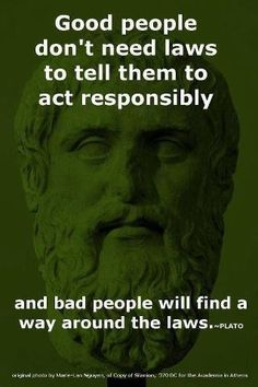 Good people don't need laws to tell them to act responsibly and bad people will find a way around the laws. - Plato So true! Wisdom Quotes, Quotes To Live By, Me Quotes, Plato Quotes, Brainy Quotes, The Words, Great Quotes, Inspirational Quotes, Motivation