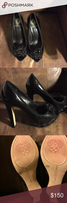 Vince Camuto heels Black patent leather authentic peep toe Vince Camuto heels with black rhinestone embellishments on top. Worn once. The shoe size is 9b there is no option to select this on PM. Vince Camuto Shoes Heels