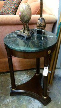 Marble Top Side Table   $135  Dealer #282  Lula B's  1010 N. Riverfront Blvd. Dallas, TX 75207  Open Daily Mon. -- Sat. 10 to 6 Sun. 12 to 6  Like us on Facebook: https://www.facebook.co