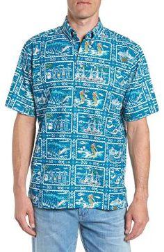 f37ad671e822 REYN SPOONER Designer Hawaiian Sports Classic Fit Pullover Sport Shirt